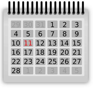 Almanacka, kalender. Minnen från den här dagen på Facebook.