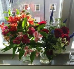 Två blombuketter jag fått i födelsedagspresent. En med rosa liljor, och en med röda rosor. Grattis på förödelsedagen!