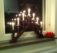 Julpynt, brun adventsljusstake