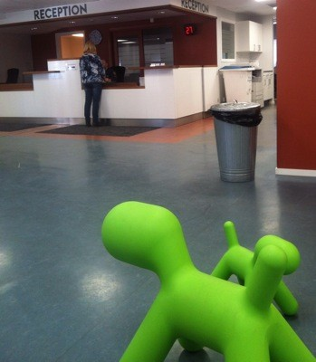 Gröna figurer på Skarpnäcks stadsdelsföraltning. Intervju för färdtjänst
