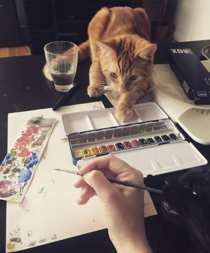 Katter hjälper till att måla akvarell, Fjodor och Finkel. Målarhjälp,