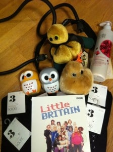 julklappar, little britain DVD-box, handkrämsuggla, strumpor, fettcell, stafylokock, giant microbes