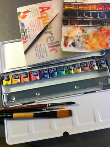 Akvarellfärg, penslar och papper, måla