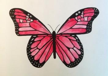 Motiv: Rosa fjäril målad med akvarell