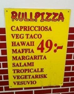 skylt i Umeå för rullpizza