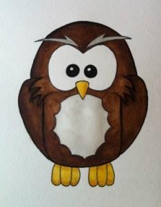 Akvarell. Akvarellmålning uggla av Arga Klara