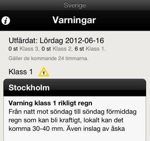 Smhi varning för regn i Stockholm