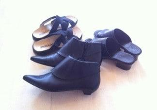 Nya skor, fått av svärmor! Tofflor, sandaler och spetsiga kängor.