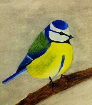 Blåmes i akvarell