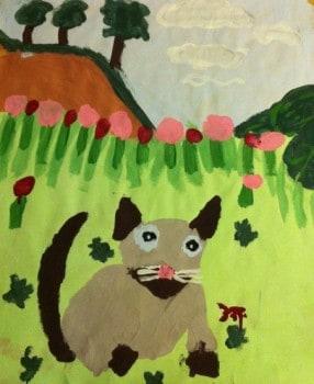 En katt jag målade i akrylfärg när jag var 6 år