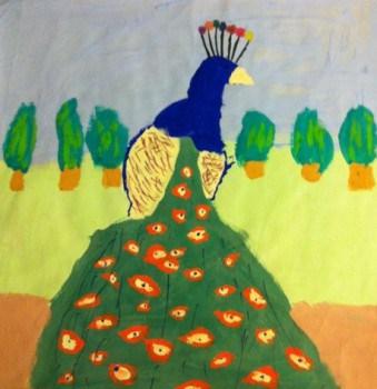 Påfågel i akrylfärg som jag målade på lekis.