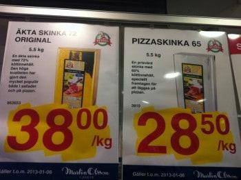 Pizzaskinka och äkta skinka till pizza, från Martin Olsson storcash