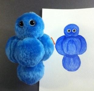 Blå stafylokock, giant microbes, målning i akvarell