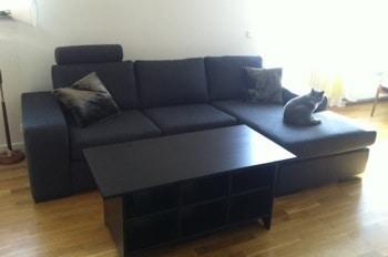 Ny soffa från Mio i modellen Chicago. Grå, katterna älskar den.