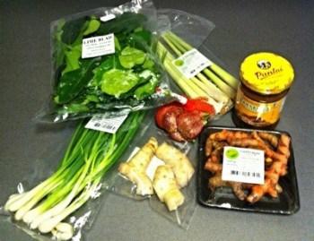 Asiatiska ingredienser, galanga, färsk gurkmeja, limeblad, citrongräs, salladslök och tamarindpasta. Asiatisk mataffär.