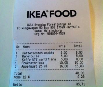 Kvitto från Ikea. De säljer cockies i stället för cookies.