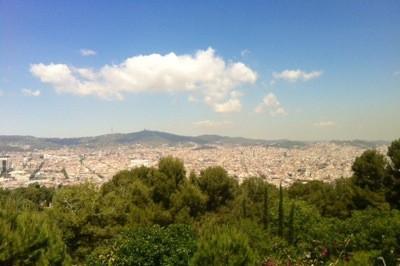 Utsikten från Castillo Montjuic i Barcelona