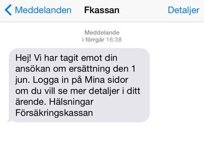 SMS från Fkassan. Försäkringskassan och handikappersätnning