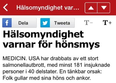 Hönsmys, ett ord använt av Aftonbladets usla rubriksättare