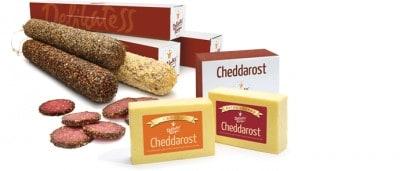Produkter från Delikatesskungen. Delikatesser, salami, ost, praliner