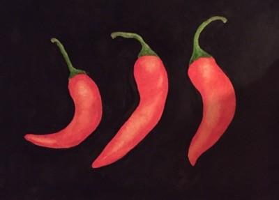 Chili, målat i akvarell