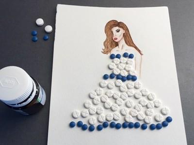 Akvarell, kvinna i klänning av piller. Pillerkonst.