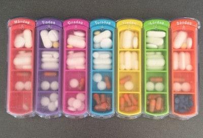 Pillerdosett, tablettdoserare. Min kalender.