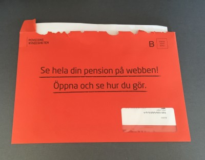 Årsbesked 2016, orange kuvert
