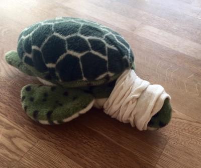 Omplåstrade gosedjur, sköldpadda.