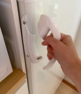 Handtaget på kylskåpet gick av!