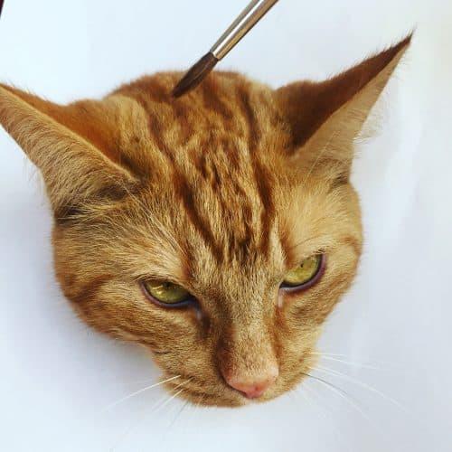 Målning av katten Fjodor, orange katt